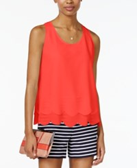 Maison Jules Layered Scallop Hem Top Only At Macy's Coral Fire