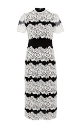 Burberry Two Toned Chantilly Lace Dress White Black