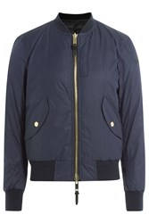 Burberry Brit Bomber Style Down Jacket Blue