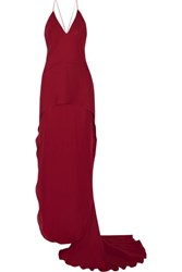 Maiyet Layered Silk Crepe De Chine Gown Claret
