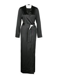 La Perla 'Talisman' Silk Satin Night Robe Black