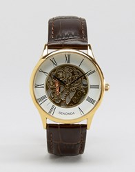 Sekonda Exposed Mechanical Skeleton Croc Leather Watch In Black With Gold Dial Exclusive To Asos Brown