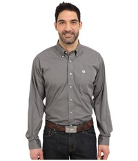 Cinch Long Sleeve Button Down Solid Gray Men's Clothing