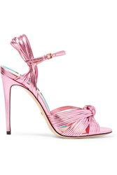 Gucci Metallic Leather Sandals Pink