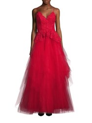 Nha Khanh Ruby Lace And Tulle Open Back Gown Red