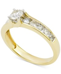 Macy's Diamond Channel Set Engagement Ring 1 Ct. T.W. In 14K White Gold Yellow Gold