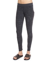 Monreal London Textured Biker Leggings Women's Size M Suede Print