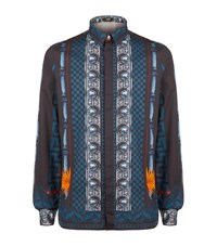 Versus By Versace Baroque Print Shirt Male Blue