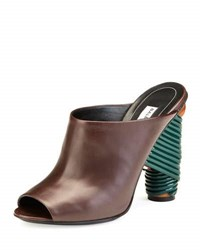Balenciaga Leather Wrap Heel Mule Pump Marron Cachou