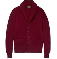 Cordings Shawl Collar Ribbed Labswool Cardigan Burgundy