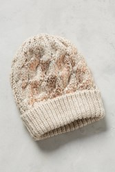Anthropologie Glinted Cables Beanie Cream