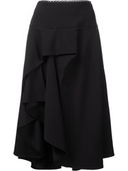 Preen By Thornton Bregazzi 'Ione' Ruffled Asymmetric Skirt Black
