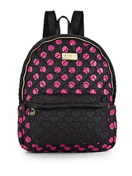 Betsey Johnson Tie The Knot Polka Dot Backpack Black Fuchsia