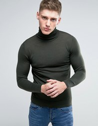 Lindbergh Jumper With Roll Neck In Khaki Merino Wool Army Green