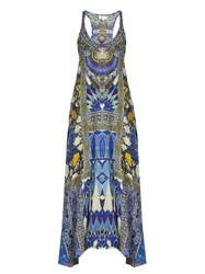 Camilla Seeing Stars Print Silk Crepe De Chine Dress Blue Multi