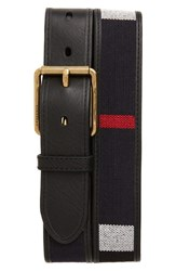 Burberry Men's Canvas And Leather Check Belt Black Navy