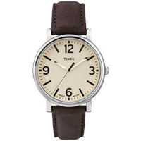 Timex Originals Classic Round Watch Cream And Brown Leather