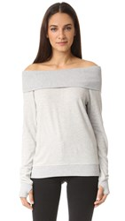 Pam And Gela Off Shoulder Sweatshirt Heather Grey
