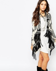 Lira Oversized Festival Cardigan With Waterfall Front And Tassel Detail Cream