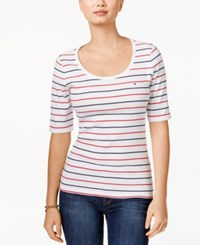 Tommy Hilfiger Striped Scoop Neck Tee White Navy Red Multi