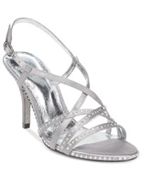 Adrianna Papell Acacia Strappy Slingback Evening Sandals Women's Shoes Pewter