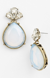 Robert Rose Large Teardrop Earrings White Opal Brass Ox
