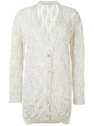Ermanno Scervino Open Knit Buttoned Cardigan Nude And Neutrals