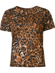 Saint Laurent Leopard And Feather Print T Shirt Brown