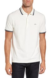 Lacoste Men's Rubber Croc Pique Polo Flour Navy Blue