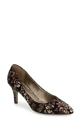 David Tate Women's 'Opera 2' Pointy Toe Pump Metallic Floral Fabric