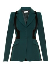 Altuzarra Venice Velvet Panel Wool Jacket Green