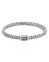 John Hardy Sterling Silver Dot Lava Medium Slim Chain Bracelet With Amethyst Purple Silver