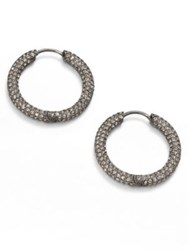 Adriana Orsini Pave Hoop Earrings 1.5 Silver