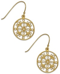 Giani Bernini Filigree Circle Drop Earrings In 24K Gold Over Sterling Silver