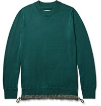 Sacai Shell Trimmed Wool Sweater Emerald