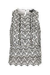 Topshop Tall Monochromatic Lace Shell Top Monochrome