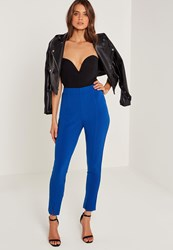Missguided Skinny Fit Cigarette Trousers Blue Cobalt Blue