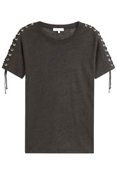 Iro Linen T Shirt With Lace Up Sides Black