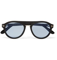 Tom Ford Aviator Style Horn Optical Glasses Black