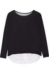 Majestic Layered Cotton Cashmere And Silk Blend Top Black