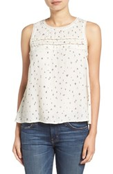 Hinge Women's Crochet Inset Print Tank Ivory Little Things