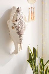 Plum And Bow Horse Skull Sculpture White
