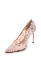 Giambattista Valli Lace Pumps With Iridescent Heel Pink