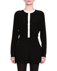 Stella Mccartney Long Sleeve Colorblock Tunic Blouse Black