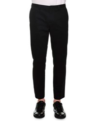 Dolce And Gabbana Side Stitch Flat Front Trousers Black