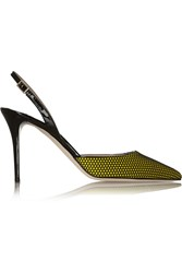 Jimmy Choo Tilly Honeycomb Mesh And Patent Leather Pumps Yellow