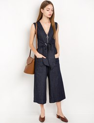 Pixie Market Stretch Denim Waist Tie Jumpsuit By New Revival
