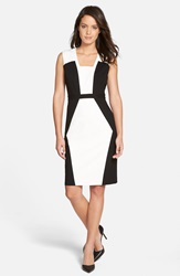 Classiques Entier Colorblock Ponte Sheath Dress Ivory Cloud Black Colorblock