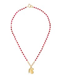 Rosale Long Beaded Charm Necklace Diane Von Furstenberg Red