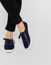 Keds Metallic Canvas Plimsoll Trainers Navy